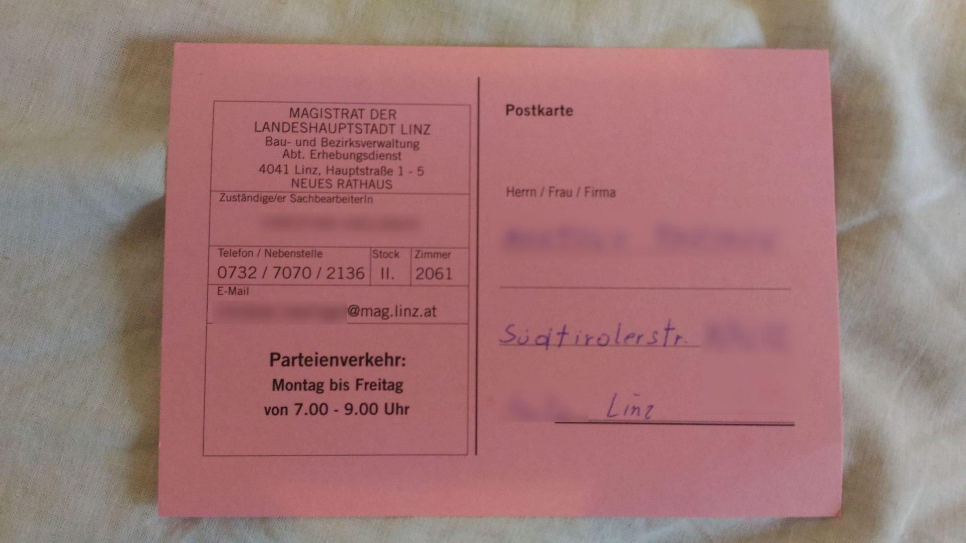 Письмо счастья из австрийского магистрата